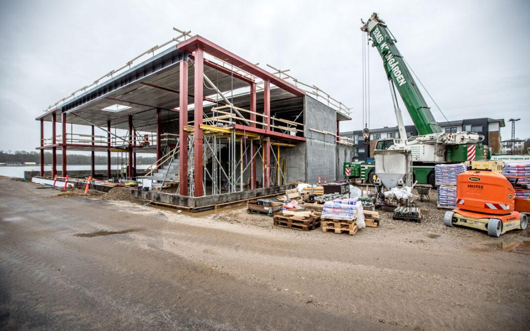 Byggeriet bag Klimatorium på havnen i Lemvig